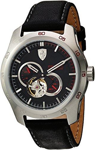 フェラーリ 腕時計 メンズ 0830442 Ferrari Men's Primato Stainless Steel Japanese-Automatic Watch with Leather Calfskin Strap, Black, 20 (Model: 0830442フェラーリ 腕時計 メンズ 0830442