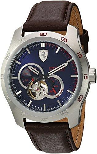 フェラーリ 腕時計 メンズ 0830443 【送料無料】Ferrari Men's Primato Stainless Steel Japanese-Automatic Watch with Leather Calfskin Strap, Brown, 19 (Model: 0830443)フェラーリ 腕時計 メンズ 0830443