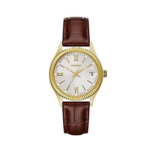 ブローバ 腕時計 レディース 44M111 Caravelle Women's Stainless Steel Quartz Watch with Leather-Crocodile Strap, Brown, 16 (Model: 44M111)ブローバ 腕時計 レディース 44M111