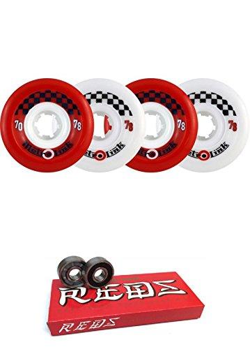 ウィール タイヤ スケボー スケートボード 海外モデル 70mm Metro Wheel Company Link Red/White Longboard Skateboard Wheels - 78a with Bones Bearings - 8mm Bones Super Reds Skateboard Bearings - Bundle ofウィール タイヤ スケボー スケートボード 海外モデル