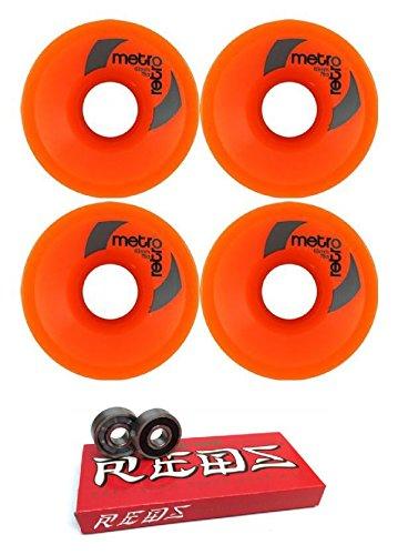 ウィール タイヤ スケボー スケートボード 海外モデル 63mm Metro Wheel Company Retro Orange Longboard Skateboard Wheels - 78a with Bones Bearings - 8mm Bones Super Reds Skateboard Bearings - Bundle of 2ウィール タイヤ スケボー スケートボード 海外モデル