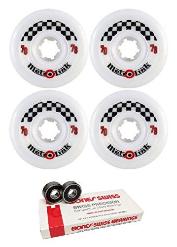 ウィール タイヤ スケボー スケートボード 海外モデル 70mm Metro Wheel Company Link White Longboard Skateboard Wheels - 78a with Bones Bearings - 8mm Bones Skateboard Bearings - Bundle of 2 Itemsウィール タイヤ スケボー スケートボード 海外モデル