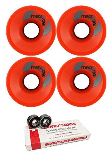 ウィール タイヤ スケボー スケートボード 海外モデル 63mm Metro Wheel Company Retro Red Longboard Skateboard Wheels - 78a with Bones Bearings - 8mm Bones Skateboard Bearings - Bundle of 2 Itemsウィール タイヤ スケボー スケートボード 海外モデル