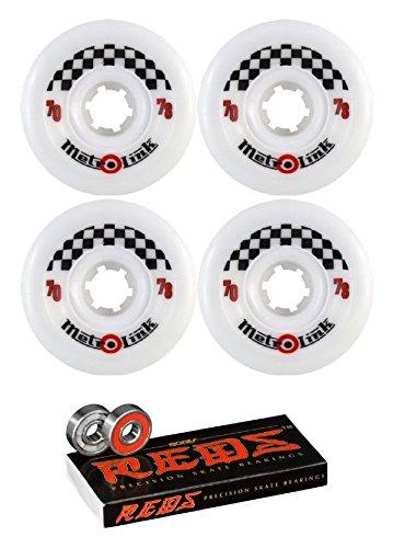 ウィール タイヤ スケボー スケートボード 海外モデル 70mm Metro Wheel Company Link White Longboard Skateboard Wheels - 78a with Bones Bearings - 8mm Bones Reds Precision Skateboard Bearings - Bundle ofウィール タイヤ スケボー スケートボード 海外モデル