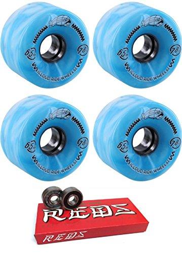 ウィール タイヤ スケボー スケートボード 海外モデル Cloud Ride! 65mm Wheels Street Cruiser Blue Marble Longboard Skateboard Wheels - 78a with Bones Bearings - 8mm Bones Super Reds Skateboard Bearings ウィール タイヤ スケボー スケートボード 海外モデル