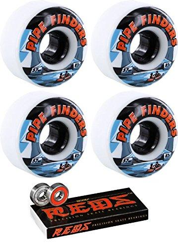 ウィール タイヤ スケボー スケートボード 海外モデル 57mm Venom Pipe Finders White Skateboard Wheels - 82a with Bones Bearings - 8mm Bones Reds Precision Skateboard Bearings - Bundle of 2 Itemsウィール タイヤ スケボー スケートボード 海外モデル
