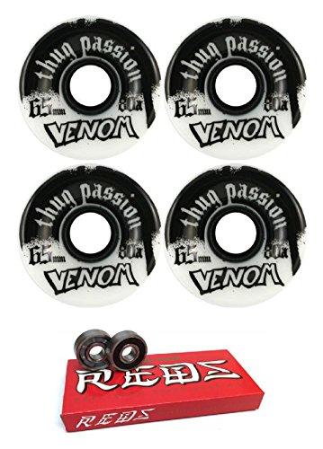 ウィール タイヤ スケボー スケートボード 海外モデル 65mm Venom Thug Passion White/Black Longboard Skateboard Wheels - 80a with Bones Bearings - 8mm Bones Super Reds Skateboard Bearings - Bundle of 2 Iウィール タイヤ スケボー スケートボード 海外モデル
