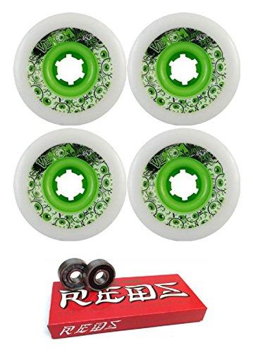 ウィール タイヤ スケボー スケートボード 海外モデル 70mm Venom Tweakers White/Green Longboard Skateboard Wheels - 80a with Bones Bearings - 8mm Bones Super Reds Skateboard Bearings - Bundle of 2 Itemsウィール タイヤ スケボー スケートボード 海外モデル