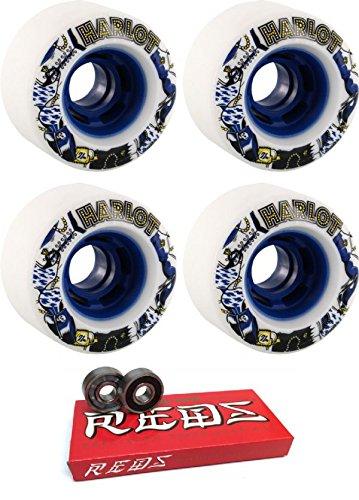 ウィール タイヤ スケボー スケートボード 海外モデル 70mm Venom Cobra Core Harlot White/Blue Longboard Skateboard Wheels - 82a with Bones Bearings - 8mm Bones Super Reds Skateboard Bearings - Bundle ofウィール タイヤ スケボー スケートボード 海外モデル
