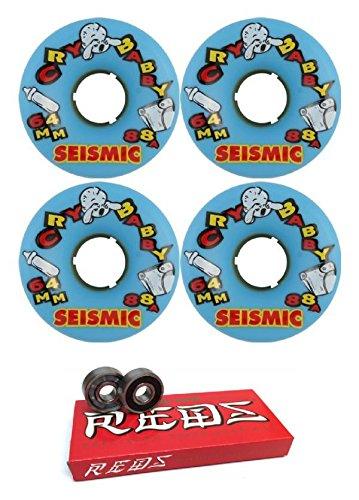 ウィール タイヤ スケボー スケートボード 海外モデル Seismic Skate Systems 64mm Cry Baby Blue Longboard Skateboard Wheels - 88a with Bones Bearings - 8mm Bones Super Reds Skateboard Bearings - Bundle oウィール タイヤ スケボー スケートボード 海外モデル
