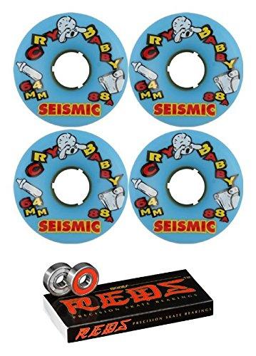 ウィール タイヤ スケボー スケートボード 海外モデル Seismic Skate Systems 64mm Cry Baby Blue Longboard Skateboard Wheels - 88a with Bones Bearings - 8mm Bones Reds Precision Skate Rated Skateboard Beaウィール タイヤ スケボー スケートボード 海外モデル
