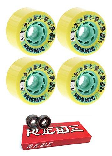 ウィール タイヤ スケボー スケートボード 海外モデル Seismic Skate Systems 68mm Tantrum Yellow Longboard Skateboard Wheels - 79a with Bones Bearings - 8mm Bones Super Reds Skateboard Bearings - Bundle ウィール タイヤ スケボー スケートボード 海外モデル
