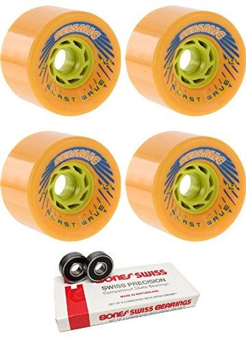 ウィール タイヤ スケボー スケートボード 海外モデル Seismic Skate Systems 78mm Blast Wave Mango Longboard Skateboard Wheels - 78.5a with Bones Bearings - 8mm Bones Skateboard Bearings - Bundle of 2 Itウィール タイヤ スケボー スケートボード 海外モデル