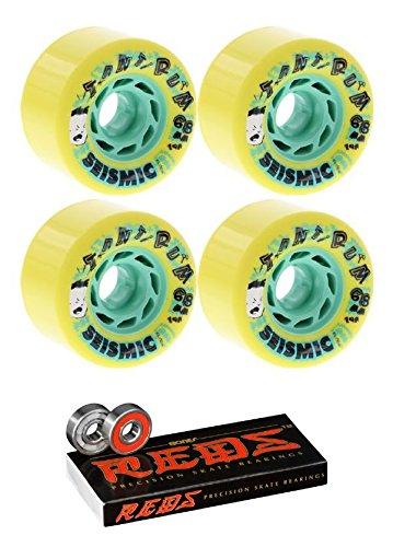 ウィール タイヤ スケボー スケートボード 海外モデル Seismic Skate Systems 68mm Tantrum Yellow Longboard Skateboard Wheels - 79a with Bones Bearings - 8mm Bones Reds Precision Skate Rated Skateboard Beウィール タイヤ スケボー スケートボード 海外モデル