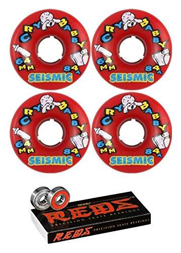ウィール タイヤ スケボー スケートボード 海外モデル Seismic Skate Systems 64mm Cry Baby Red Longboard Skateboard Wheels - 84a with Bones Bearings - 8mm Bones Reds Precision Skate Rated Skateboard Bearウィール タイヤ スケボー スケートボード 海外モデル