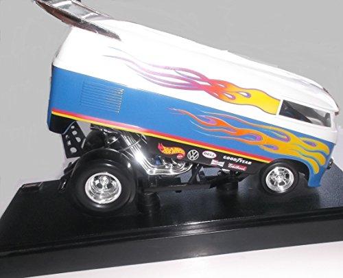 ホットウィール マテル ミニカー ホットウイール 【送料無料】Hot Wheels Customized VW Drag Bus White & Blue 1:18 Scale Collectibles Deluxe Vehicle & Display Baseホットウィール マテル ミニカー ホットウイール