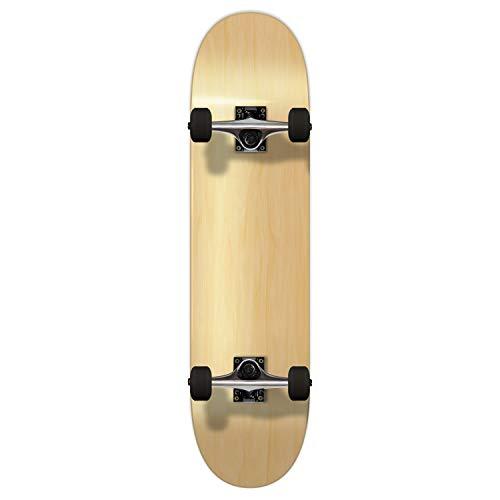 スタンダードスケートボード スケボー 海外モデル 直輸入 Yocaher Pro Blank Complete Skateboard - Natural woods (Assembled, 7.75