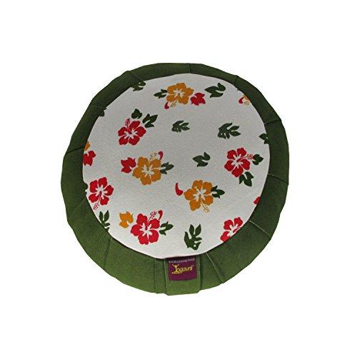 ヨガ フィットネス Yogavni-Zafu-Rnd-GreenFlower-Print 【送料無料】Round Cotton Yoga and Meditation Cushion with Flower Print by Yogavni(TM)ヨガ フィットネス Yogavni-Zafu-Rnd-GreenFlower-Print