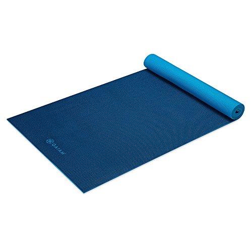 無料ラッピングでプレゼントや贈り物にも 贈呈 逆輸入並行輸入送料込 ヨガマット フィットネス 05-62186 送料無料 Gaiam 最新 Yoga Mat Premium Solid Color Reversible Non Slip Workouts Pilates of for Longer Floor Navy 6mm Types Fitness Blue Exercise Wider All