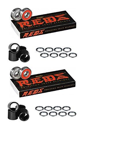ベアリング スケボー スケートボード 海外モデル 直輸入 Bones Bearings Reds Bearings (2) 8 Packs W/Spacers and Washersベアリング スケボー スケートボード 海外モデル 直輸入