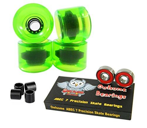ベアリング スケボー スケートボード 海外モデル 直輸入 Owlsome ABEC 7 Precision Bearings + 76mm Longboard Skateboard Wheels (Gel Green)ベアリング スケボー スケートボード 海外モデル 直輸入