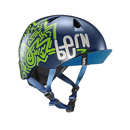 ヘルメット スケボー スケートボード 海外モデル 直輸入 VJBMNZVSM BERN - Kid's Nino Helmet, Satin Navy Blue Zig-Zag w/Flip Visor, S/Mヘルメット スケボー スケートボード 海外モデル 直輸入 VJBMNZVSM