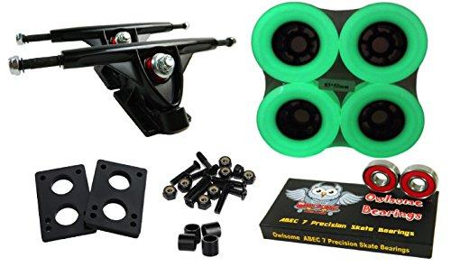 トラック スケボー スケートボード 海外モデル 直輸入 Longboard 180mm Trucks Combo w/83mm Flywheels + Owlsome ABEC 7 Bearings (Glow in the Dark)トラック スケボー スケートボード 海外モデル 直輸入
