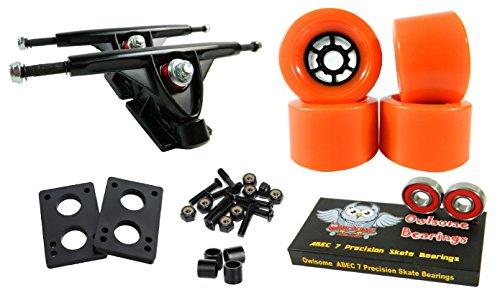 トラック スケボー スケートボード 海外モデル 直輸入 Longboard 180mm Trucks Combo w/83mm Flywheels + Owlsome ABEC 7 Bearings (Orange)トラック スケボー スケートボード 海外モデル 直輸入