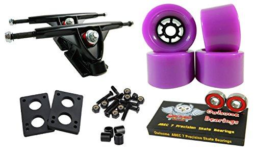 トラック スケボー スケートボード 海外モデル 直輸入 Longboard 180mm Trucks Combo w/83mm Flywheels + Owlsome ABEC 7 Bearings (Purple)トラック スケボー スケートボード 海外モデル 直輸入