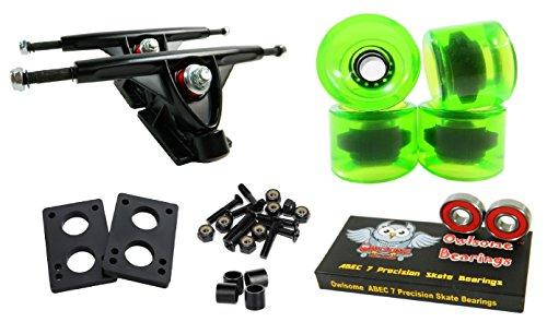 トラック スケボー スケートボード 海外モデル 直輸入 Longboard 180mm Trucks Combo w/70mm Wheels + Owlsome ABEC 7 Bearings (Gel Green)トラック スケボー スケートボード 海外モデル 直輸入