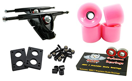 トラック スケボー スケートボード 海外モデル 直輸入 Longboard 180mm Trucks Combo w/70mm Wheels + Owlsome ABEC 7 Bearings (Solid Pink)トラック スケボー スケートボード 海外モデル 直輸入