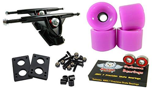 トラック スケボー スケートボード 海外モデル 直輸入 Longboard 180mm Trucks Combo w/70mm Wheels + Owlsome ABEC 7 Bearings (Solid Purple)トラック スケボー スケートボード 海外モデル 直輸入
