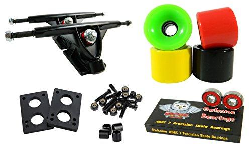 トラック スケボー スケートボード 海外モデル 直輸入 Longboard 180mm Trucks Combo w/70mm Wheels + Owlsome ABEC 7 Bearings (Solid Rasta)トラック スケボー スケートボード 海外モデル 直輸入