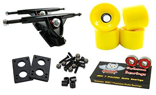 トラック スケボー スケートボード 海外モデル 直輸入 Longboard 180mm Trucks Combo w/70mm Wheels + Owlsome ABEC 7 Bearings (Solid Yellow)トラック スケボー スケートボード 海外モデル 直輸入