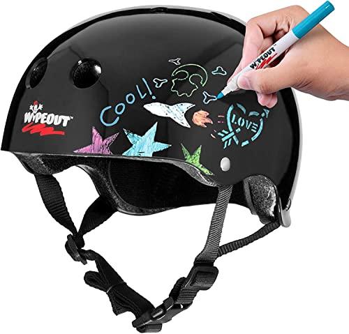 ヘルメット スケボー スケートボード 海外モデル 直輸入 WP4002 Wipeout Dry Erase Kids' Bike, Skate, and Scooter Helmet, Black, Ages 5+ヘルメット スケボー スケートボード 海外モデル 直輸入 WP4002