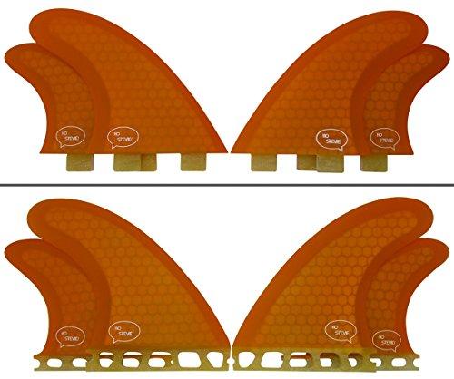 サーフィン フィン マリンスポーツ Quad Surfboard Fins (4 Fins) - Perfect Flex with Honeycomb (Orange, Future)サーフィン フィン マリンスポーツ