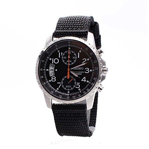 セイコー 腕時計 メンズ SNN079P2 Men's Stainless Steel Quartz Chronograph Black Dial Canvas Strapセイコー 腕時計 メンズ SNN079P2