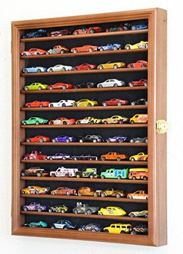 ホットウィール マテル ミニカー ホットウイール 【送料無料】Hot Wheels Matchbox 1/64 Scale Diecast Model Display Case Cabinet Wall Rack w/98% UV Protection -Walnutホットウィール マテル ミニカー ホットウイール