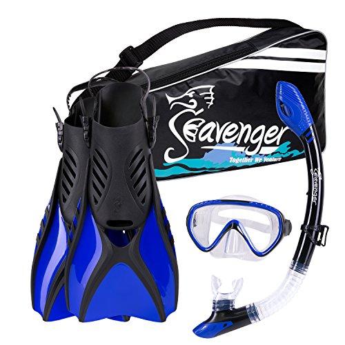 シュノーケリング マリンスポーツ Seavenger Advanced Snorkeling Set with Panoramic Mask, Trek Fins, Dry Top Snorkel & Gear Bag (Blue, X-Small)シュノーケリング マリンスポーツ