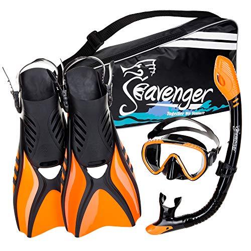 シュノーケリング マリンスポーツ Seavenger Advanced Snorkeling Set with Panoramic Mask, Trek Fins, Dry Top Snorkel & Gear Bag (Black Silicone/Orange, X-Small)シュノーケリング マリンスポーツ