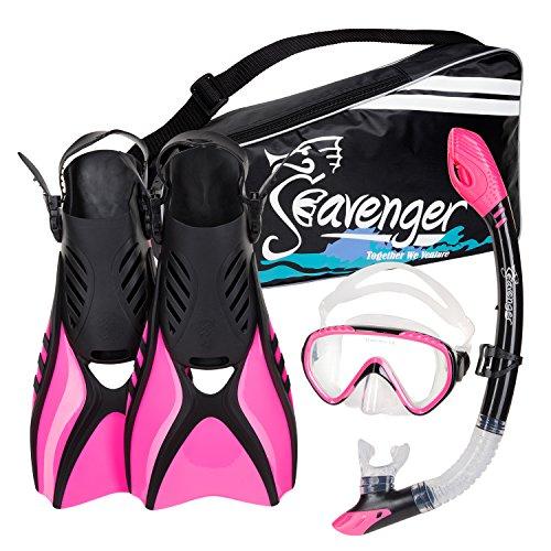 シュノーケリング マリンスポーツ Seavenger Advanced Snorkeling Set with Panoramic Mask, Trek Fins, Dry Top Snorkel & Gear Bag (Pink, X-Small)シュノーケリング マリンスポーツ