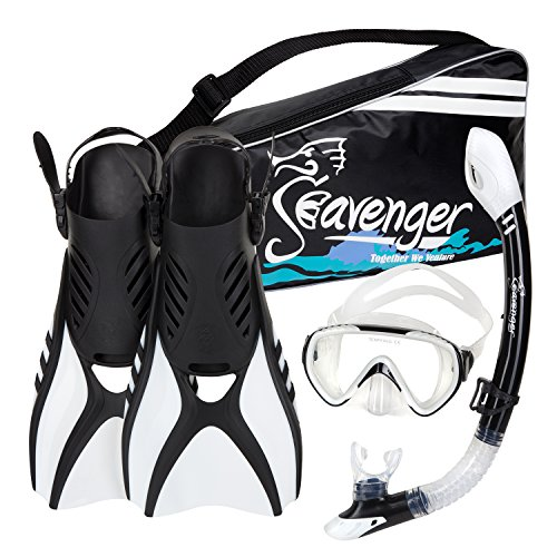 シュノーケリング マリンスポーツ Seavenger Advanced Snorkeling Set with Panoramic Mask, Trek Fins, Dry Top Snorkel & Gear Bag (White, X-Small)シュノーケリング マリンスポーツ