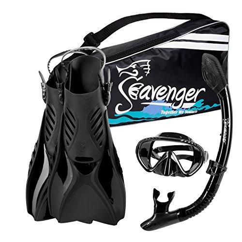 シュノーケリング マリンスポーツ Seavenger Advanced Snorkeling Set with Panoramic Mask, Trek Fins, Dry Top Snorkel & Gear Bag (Black Silicone/Black, Medium)シュノーケリング マリンスポーツ