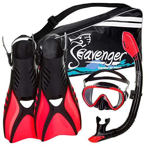 シュノーケリング マリンスポーツ Seavenger Advanced Snorkeling Set with Panoramic Mask, Trek Fins, Dry Top Snorkel & Gear Bag (Black Silicone/Red, Medium)シュノーケリング マリンスポーツ