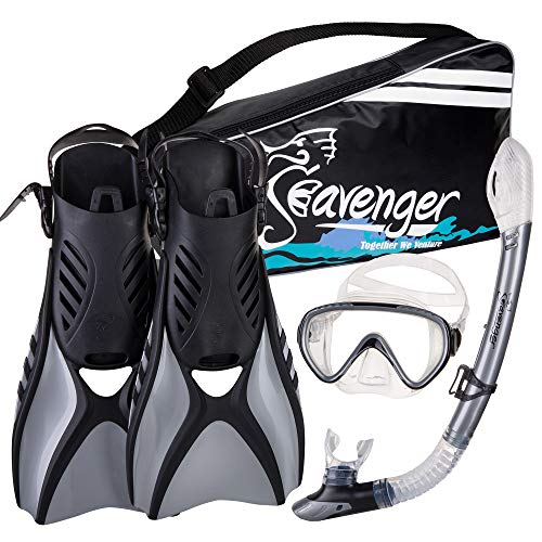 シュノーケリング マリンスポーツ Seavenger Advanced Snorkeling Set with Panoramic Mask, Trek Fins, Dry Top Snorkel & Gear Bag (Silver, Medium)シュノーケリング マリンスポーツ