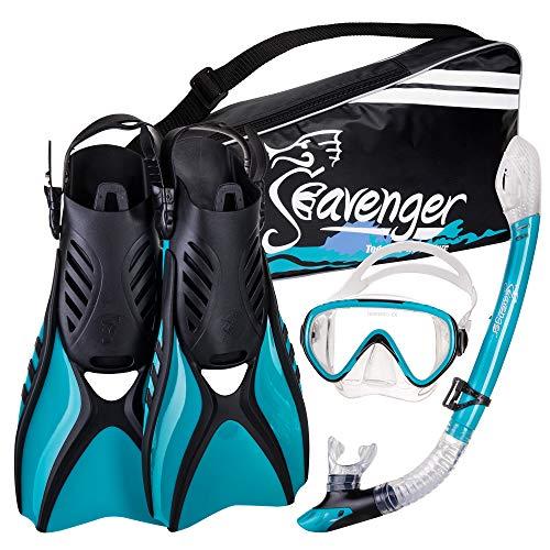 シュノーケリング マリンスポーツ Seavenger Advanced Snorkeling Set with Panoramic Mask, Trek Fins, Dry Top Snorkel & Gear Bag (Clear Teal, Large)シュノーケリング マリンスポーツ