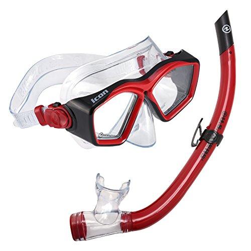 シュノーケリング マリンスポーツ LEPUSHPDJ6318 【送料無料】U.S. Divers Icon Mask and Airent Snorkel Underwater Goggle Set for Adults One Size Fits Most, Redシュノーケリング マリンスポーツ LEPUSHPDJ6318