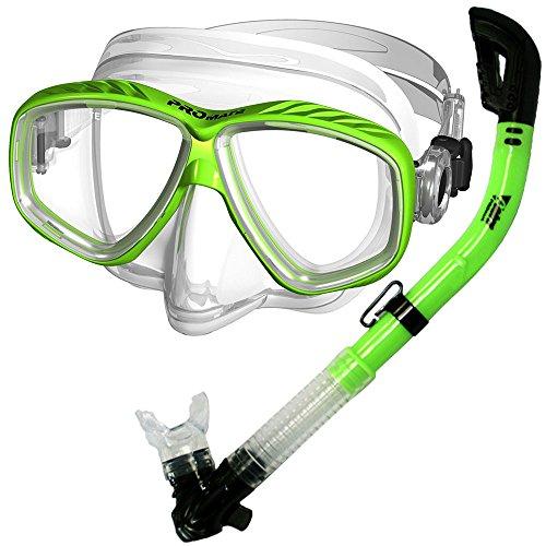 シュノーケリング マリンスポーツ 【送料無料】PROMATE Snorkeling Scuba Dive DRY Snorkel PURGE Mask Gear Set, Greenシュノーケリング マリンスポーツ