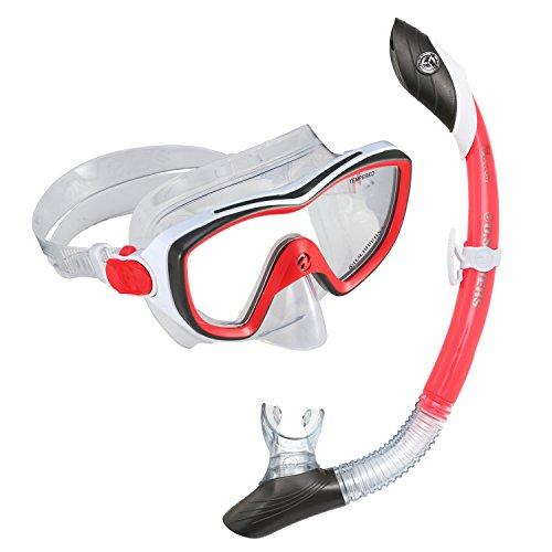 シュノーケリング マリンスポーツ 281015 U.S. Divers 281015 Diva II Mask Island Dry Snorkel Combo, Red/Whiteシュノーケリング マリンスポーツ 281015