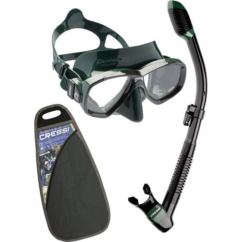 シュノーケリング マリンスポーツ Cressi Perla Mask/ Supernova Dry Snorkel Package,Black/Greenシュノーケリング マリンスポーツ